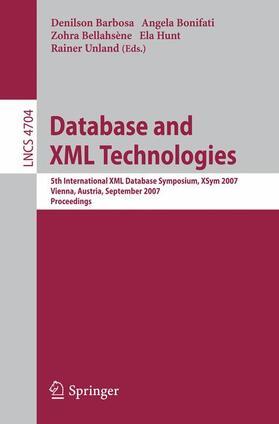Barbosa / Bonifati / Bellahsène   Database and XML Technologies   Buch   sack.de