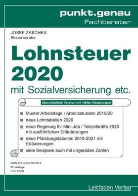 Josef | Lohnsteuer 2020 | Buch | sack.de