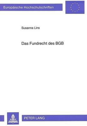 Lins   Das Fundrecht des BGB   Buch   sack.de