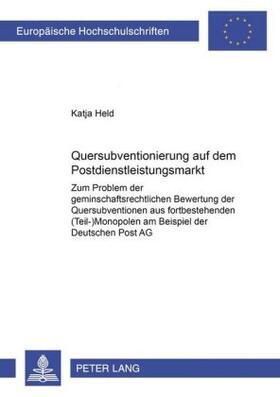 Held   Quersubventionierung auf dem Postdienstleistungsmarkt   Buch   sack.de