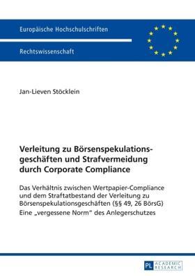 Stöcklein   Verleitung zu Börsenspekulationsgeschäften und Strafvermeidung durch Corporate Compliance   Buch   sack.de