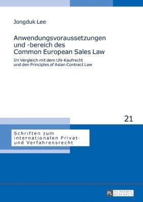 Lee   Anwendungsvoraussetzungen und -bereich des Common European Sales Law   Buch   sack.de