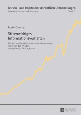 Conring   Sittenwidriges Informationsverhalten   Buch   sack.de