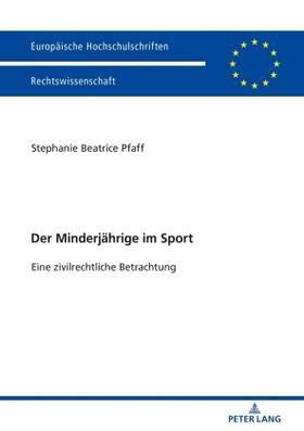 Pfaff   Der Minderjährige im Sport   Buch   sack.de