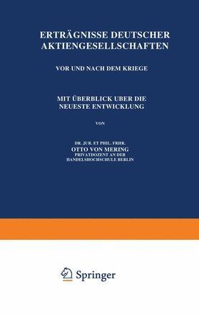 Mering   Erträgnisse Deutscher Aktiengesellschaften Vor und Nach dem Kriege   Buch   sack.de
