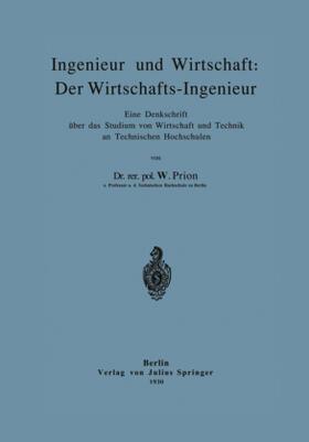 Prion | Ingenieur und Wirtschaft: Der Wirtschafts-Ingenieur | Buch | sack.de