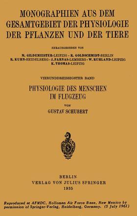 Schubert / Gildmeister / Goldschmidt   Physiologie des Menschen im Flugzeug   Buch   sack.de