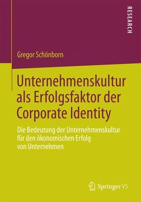 Schönborn   Unternehmenskultur als Erfolgsfaktor der Corporate Identity   Buch   sack.de