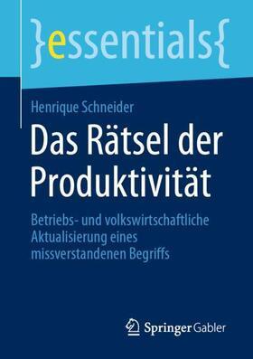 Schneider | Das Rätsel der Produktivität | Buch | sack.de
