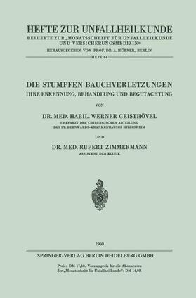 Geisthövel / Zimmermann   Die Stumpfen Bauchverletzungen   Buch   sack.de