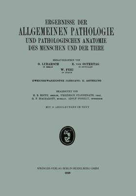 Hoppe / Standenath / Ssacharoff | Ergebnisse der Allgemeinen Pathologie und Pathologischen Anatomie des Menschen und der Tiere | Buch | sack.de