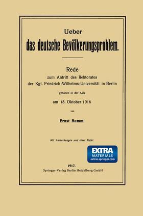 Bumm | Ueber das deutsche Bevölkerungsproblem | Buch | sack.de