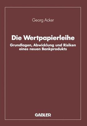 Acker | Die Wertpapierleihe | Buch | sack.de