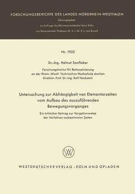 Sanfleber | Untersuchung zur Abhängigkeit von Elementarzeiten vom Aufbau des auszuführenden Bewegungsvorganges | Buch | sack.de
