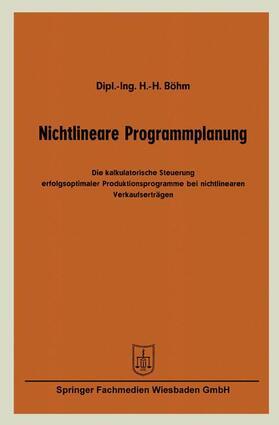 Böhm   Nichtlineare Programmplanung   Buch   sack.de