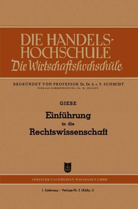 Giese   Einführung in die Rechtswissenschaft   Buch   sack.de