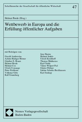 Brede | Wettbewerb in Europa und die Erfüllung öffentlicher Aufgaben | Buch | sack.de