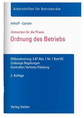 Althoff / Gänsler | Ordnung des Betriebs | Buch | sack.de