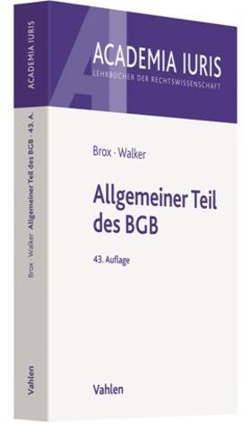 Brox / Walker   Allgemeiner Teil des BGB   Buch
