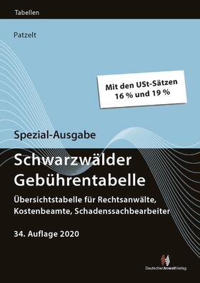 Patzelt   Spezial-Ausgabe Schwarzwälder Gebührentabelle   Buch   sack.de