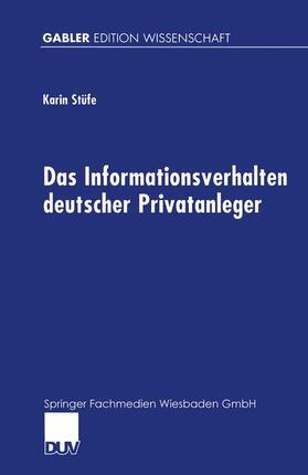 Das Informationsverhalten deutscher Privatanleger | Buch | sack.de