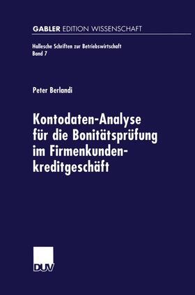 Kontodaten-Analyse für die Bonitätsprüfung im Firmenkundenkreditgeschäft | Buch | sack.de