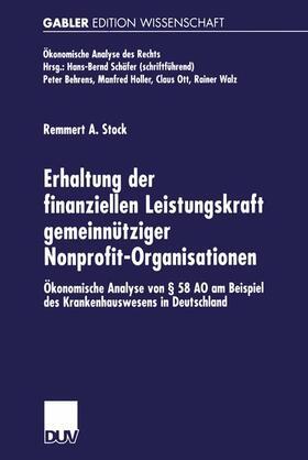 Stock | Erhaltung der finanziellen Leistungskraft gemeinnütziger Nonprofit-Organisationen | Buch | sack.de