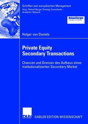 Daniels | Private Equity Secondary Transactions | Buch | sack.de