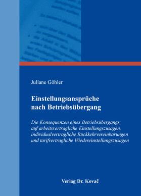 Göhler   Einstellungsansprüche nach Betriebsübergang   Buch   sack.de