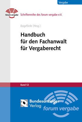 Dageförde   Handbuch für den Fachanwalt für Vergaberecht   Buch   Sack Fachmedien