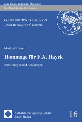 Streit | Hommage für F. A. Hayek | Buch | sack.de