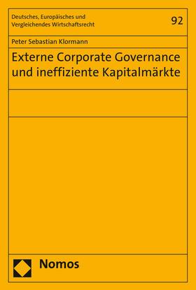 Klormann   Externe Corporate Governance und ineffiziente Kapitalmärkte   Buch   sack.de