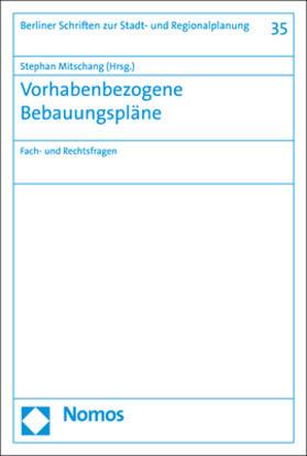 Mitschang | Vorhabenbezogene Bebauungspläne | Buch | sack.de