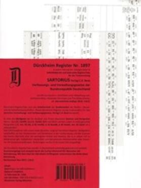 Dürckheim   Sartorius, Verfassungs- und Verwaltungsgesetze, Griffregister Nr. 1897 (2020)   Buch   Sack Fachmedien