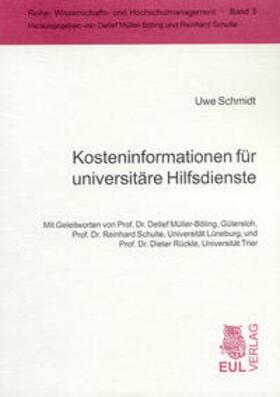 Schmidt   Kosteninformationen für universitäre Hilfsdienste   Buch   sack.de