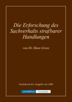 Die Erforschung des Sachverhalts strafbarer Handlungen - Geschichte | Buch | sack.de