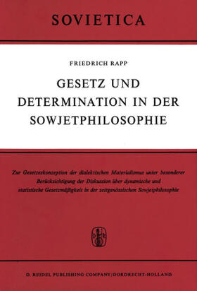 Rapp | Gesetz und Determination in der Sowjetphilosophie | Buch | sack.de